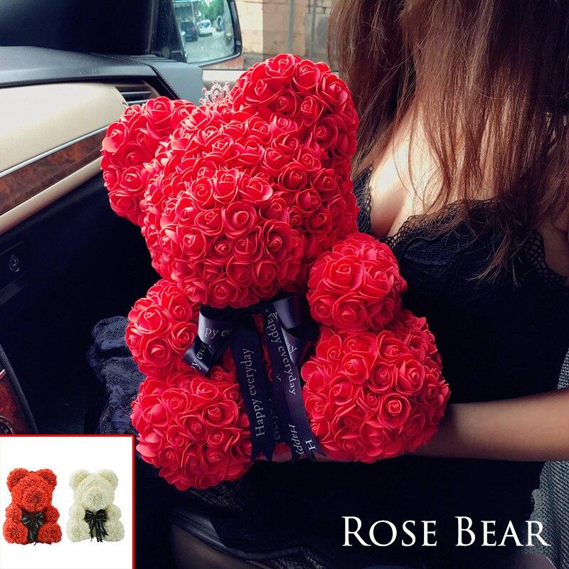 2018 Drop Shipping 40 cm Vermelho Grande Urso de Pelúcia Rosa Flor Artificial Presentes de Natal para o Presente do Dia Dos Namorados Mulheres