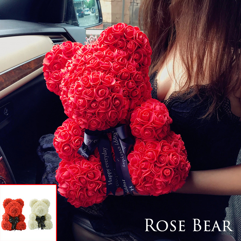 US $9 58 41% OFF|2018 Drop Shipping 40cm Big Red Teddy Bear Rose Flower  Artificial Christmas Gifts for Women Valentine's Day Gift-in Artificial &