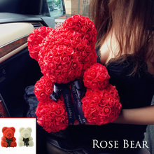2018 Drop Shipping 40cm Big Red Teddy Bear Rose Flower Artificial Christmas Gifts for Women Valentine's Day Gift(China)