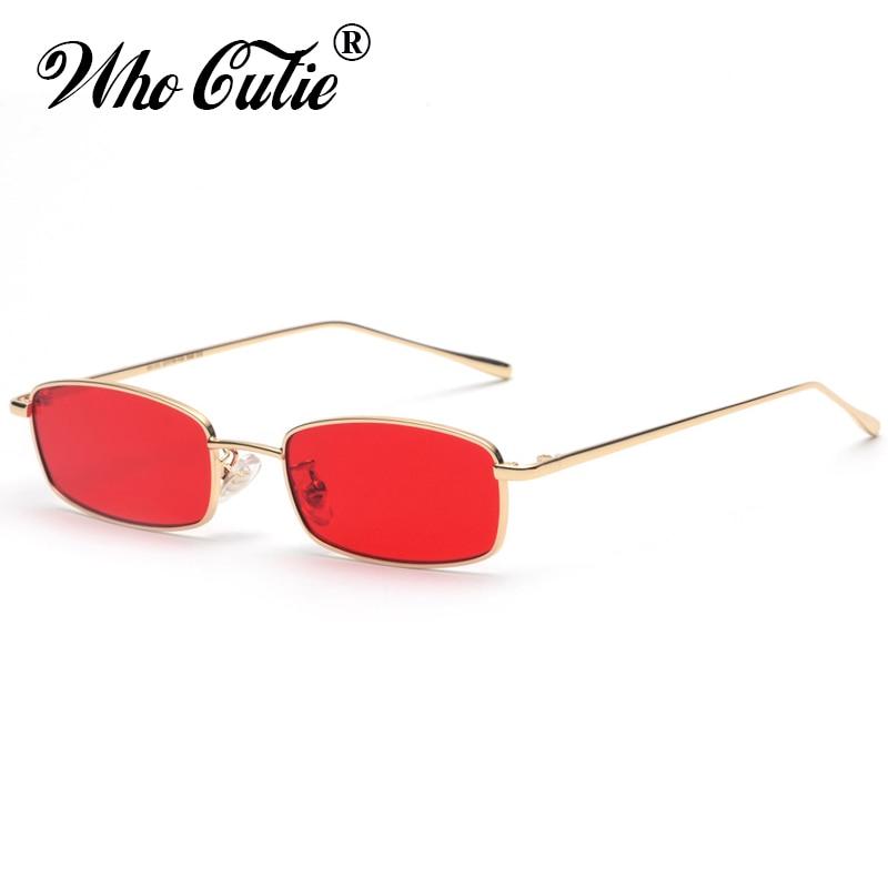 WHO CUTIE 2018 Small Narrow Rectangle Sunglasses Women Men Brand Red Clear Lens Skinny Slim Wire Retro Sun Glasses Shades OM522