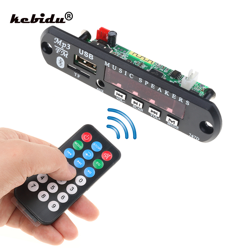 US $1 09 27% OFF|kebidu Wireless Bluetooth MP3 Decoder Board with Remote  Control Module for Car Audio USB TF FM Radio AUX 12V 24V for iPhone New-in