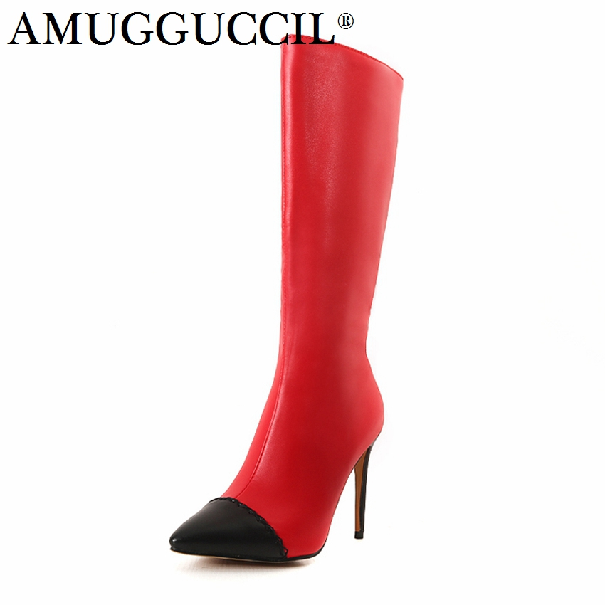 2019 New Plus Big Size 32-46 White Red Khaki Zip Fashion High Heel Mid Calf Female Girl Lady Autumn Winter Women Boots X1669