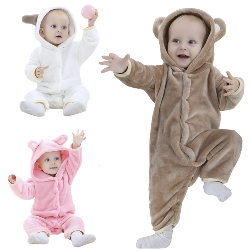 Brand Designer Soft Flannel Baby Pajamas Kawaii Kids Boy Girls Sleepwear Warm Boys Girls Hooded Romper