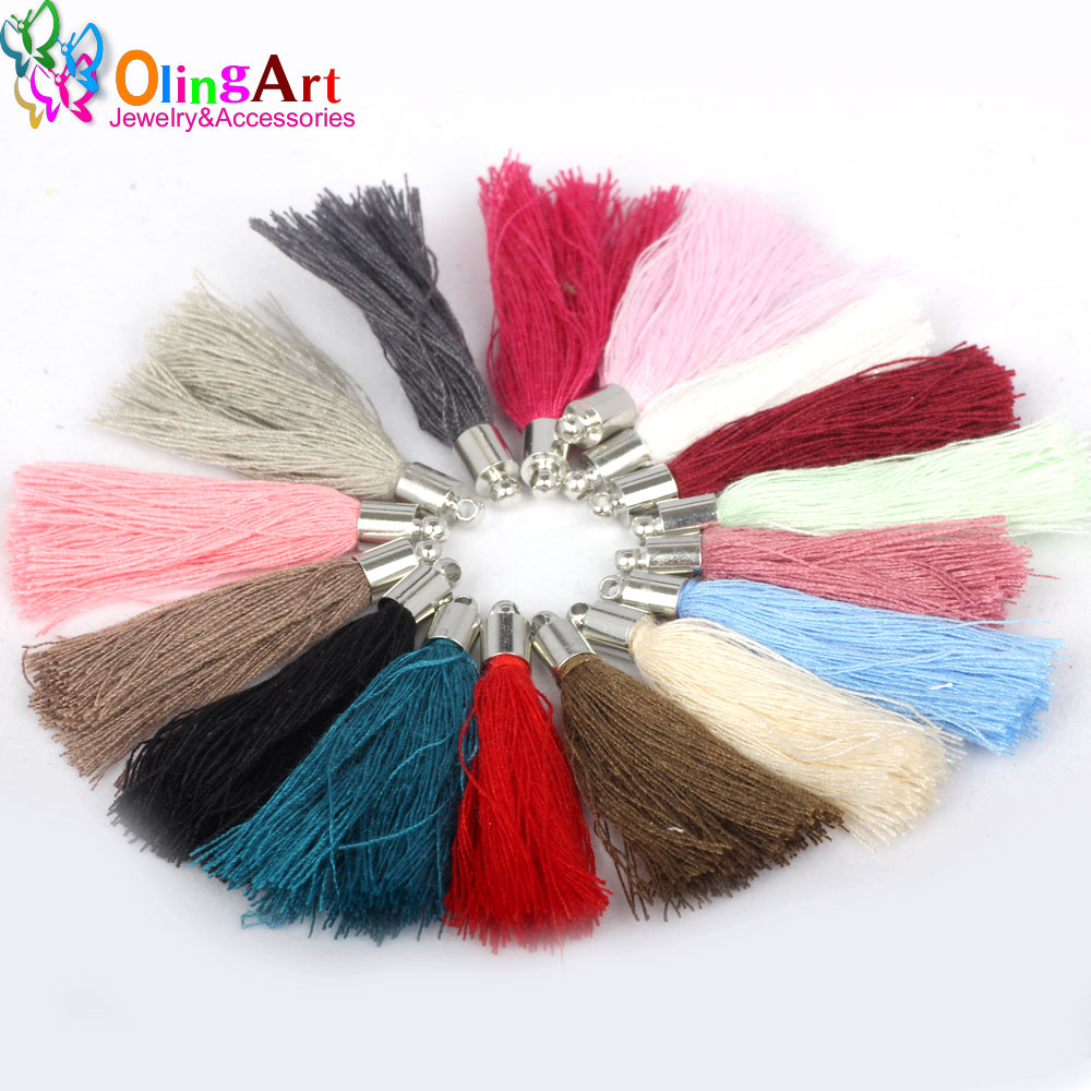 OlingArt 35mm/40mm 20Pcs Mix Color Cotton Tassel Charm Necklace Earring Tassels DIY Jewelry Making Straps Keychain Pendants 2019