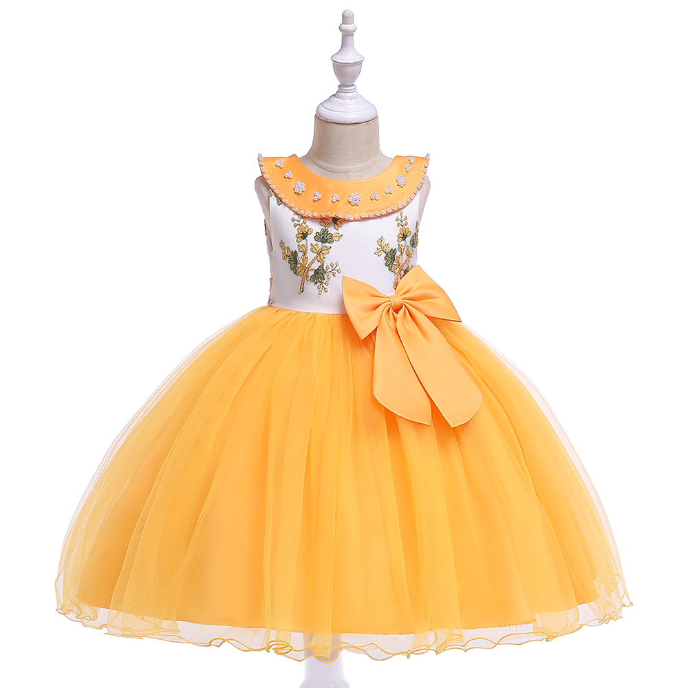 Girl's 4-8 Years Round Neck Short Sleeve Bowtie Decor Sweet Style Party Dresses Children Day Stage Performance Summer Dresses