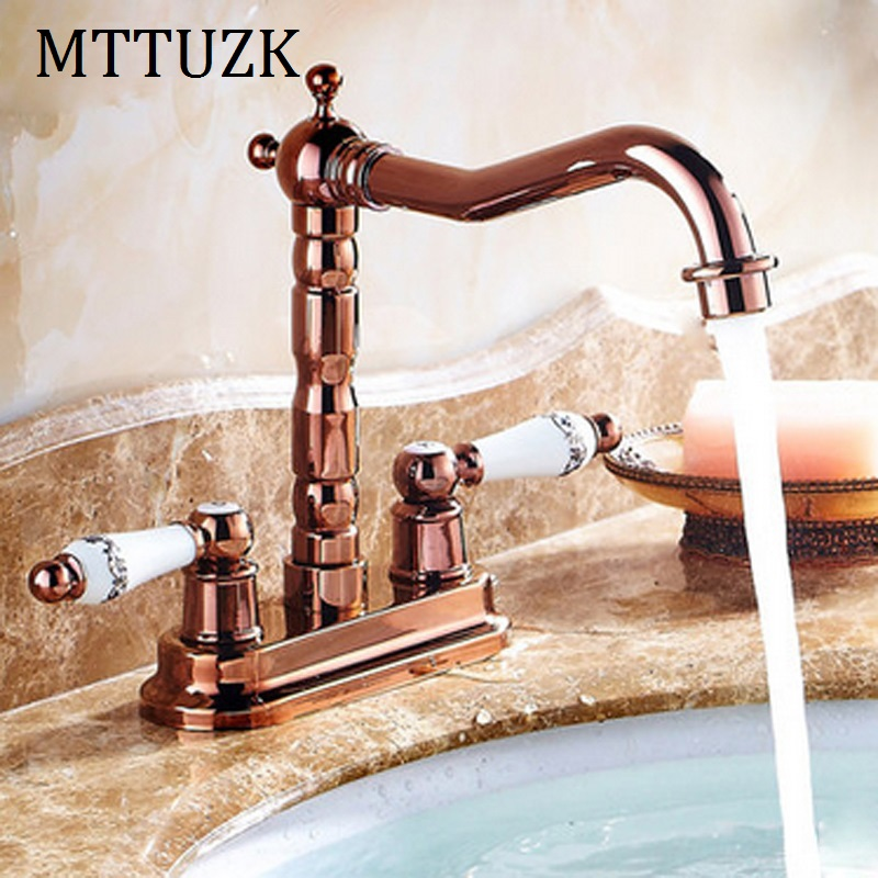 MTTUZK European Rose Gold Brass Deck Mounted Dual Ceramics Cross Handles Bathroom Vessel Sink Basin Faucet Swivel Mixer Tap MTTUZK European Rose Gold Brass Deck Mounted Dual Ceramics Cross Handles Bathroom Vessel Sink Basin Faucet Swivel Mixer Tap