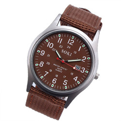 Quartz Watches Men SOKI Fashion Simple Style Wrist Watches Stainless Steel Case Canvas Strap Men Watch Classic Wholesale 50M05