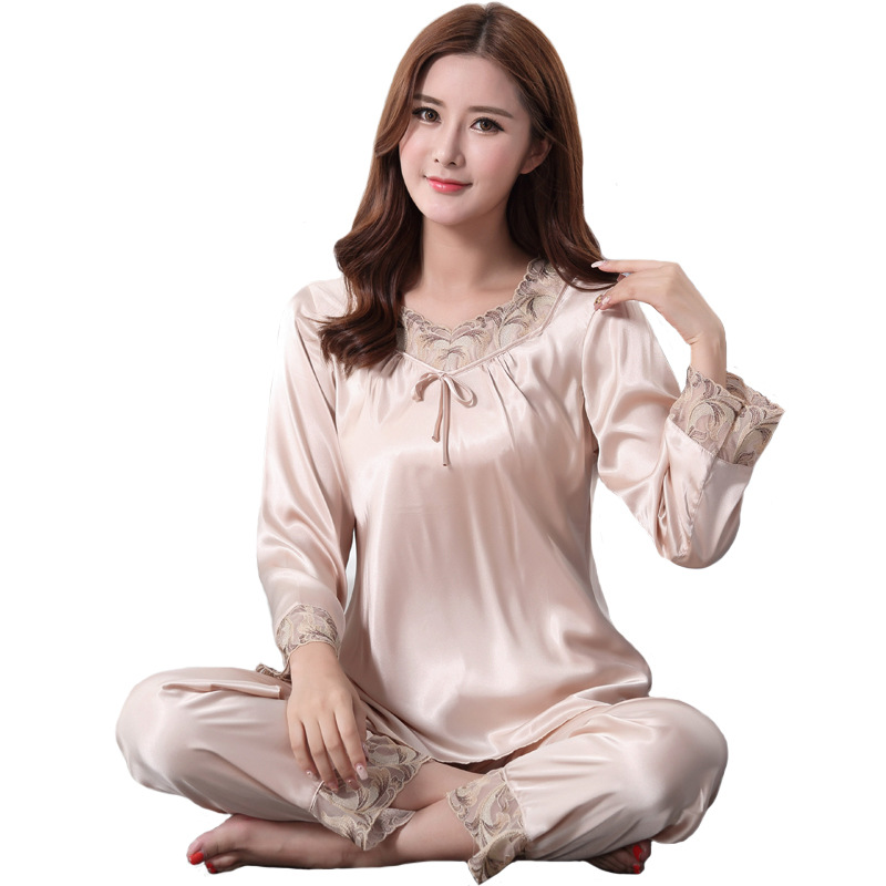 Big Size 3XL Women Sleepwear Floral Trim Sexy Shirt+Pants Chrming Home Wear Faux Silk   Pajamas     Set   Female Soft 2PCS Nightwear