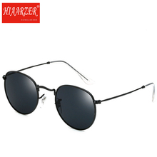 High Quality Round Sunglasses Women Men Glass Mirror Lens Metal Frame Sun Glasses Vintage Oculos De Sol 3447 Eyewear With Case