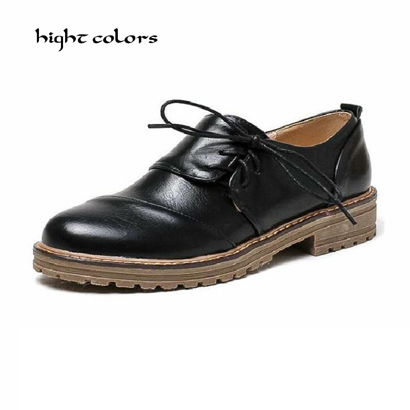 Black Green Shoes Woman Oxfords Vintage Round Toe Lace Up Flat Brogue Oxford Shoes For Women Ladies Casual Flats Size 34-43 women flats oxford shoes big size flat genuine leath vintage shoes round toe handmade black 2017 oxfords shoes for women