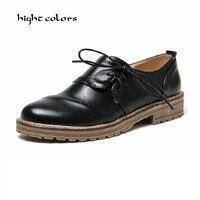 Noir Vert Chaussures Femme Oxford Vintage Bout Rond Lace Up plat Brogue Oxford Chaussures Pour Femmes Dames Appartements Occasionnels Taille 34-43