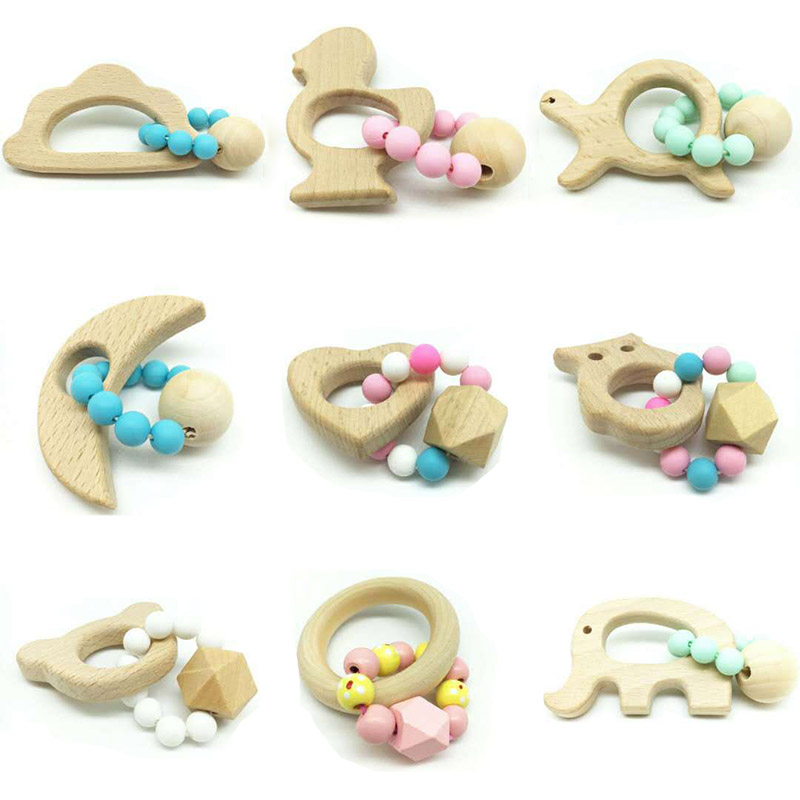 Wooden Baby Bracelet Animal Shaped Jewelry Teething For Baby Organic Wood Silicone Beads Baby Toys