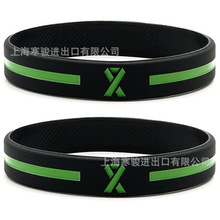Printed Letters Green Awareness Ribbon Silicone Sports Bracelets & Bangles  Fluorescent Rubber Fitness Wristband Bracelet
