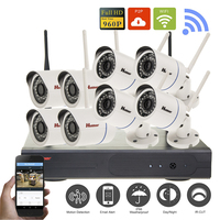 8CH Wireless NVR CCTV System 960P IP Camera Wifi Outdoor Waterproof IR Night Vision Home Video