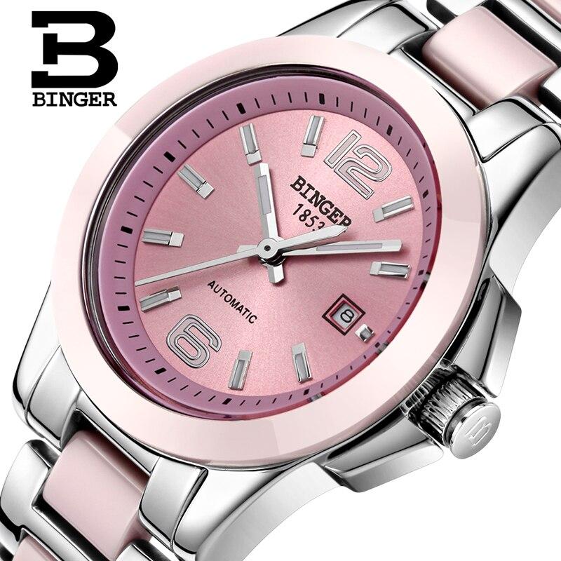 Sweet Pink Ceramic Bracelet Watches For Women Mechanical Self-winding Watch Calendar Lovers Wrist Watch Analog Men Dress Relogio
