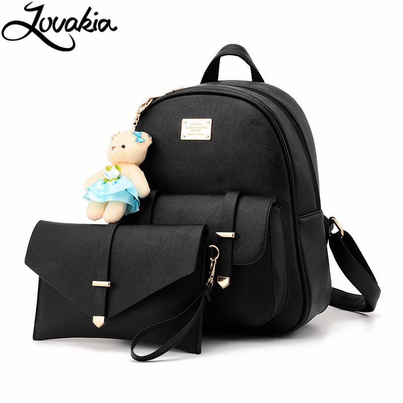 2017 New Brand Women s Casual Leather School Bag font b Backpack b font Set Fasion