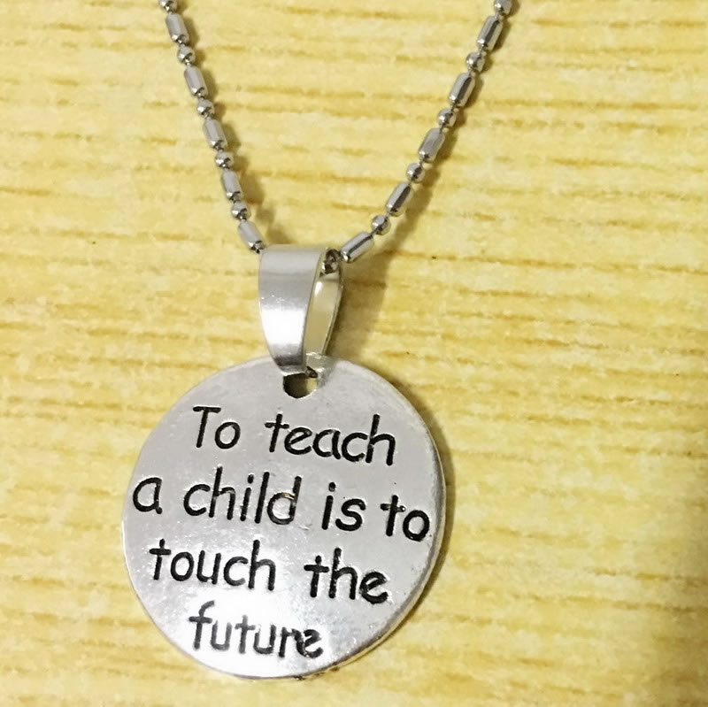 To Teach A Child Is To Touch The Future Teacher Necklace Gift For Graduate