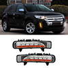 For Ford Edge 2pcs LED DRL Daytime Running Lights With Yellow Turning Signal