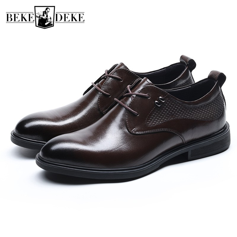 New Brand Men Genuine Leather Formal Shoes 2019 Summer Vintage Style Lace Up Business Shoes British Derby Casual Flat Black ShoeNew Brand Men Genuine Leather Formal Shoes 2019 Summer Vintage Style Lace Up Business Shoes British Derby Casual Flat Black Shoe