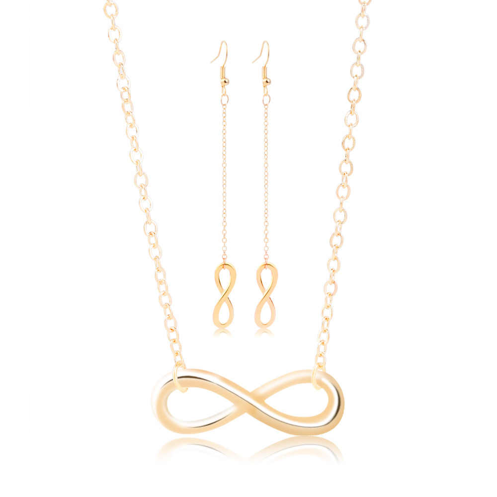 Qiao La Beautiful Eight Shape Necklace Earring Sets For Women Elegant High Quality Necklaces Female Anniversary Jewelry Sets