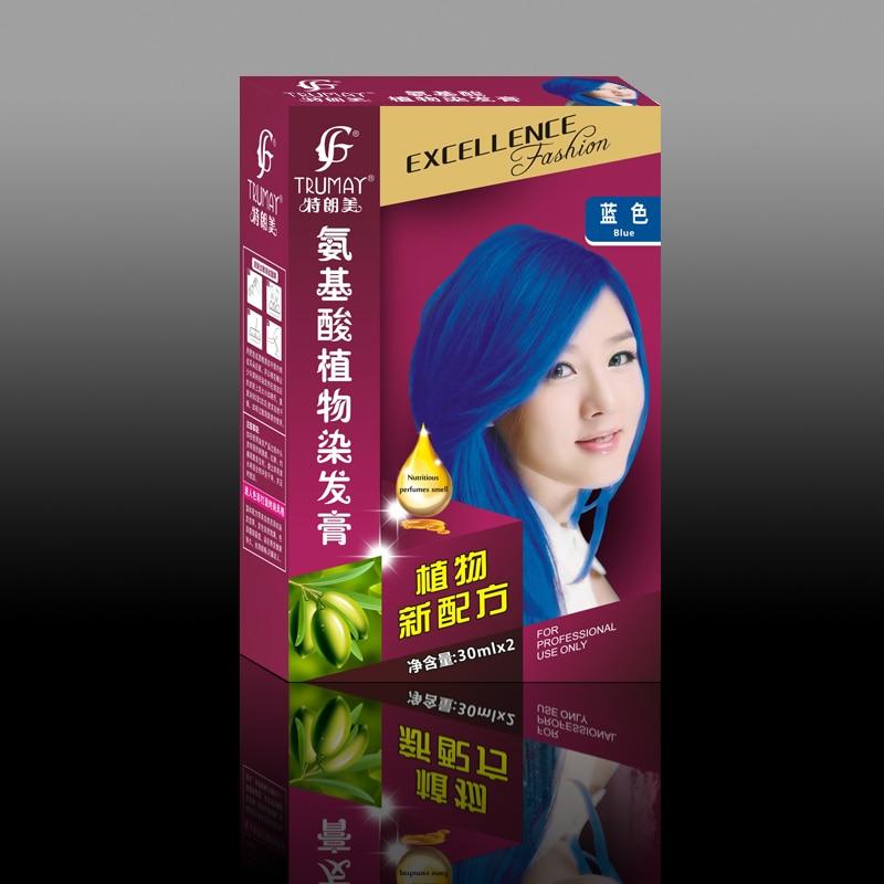 plante aminosyrer 30 ml * 2 permanent Blå hårfarve farvestof creme naturligt hårfarve creme mode hårfarvestofcreme