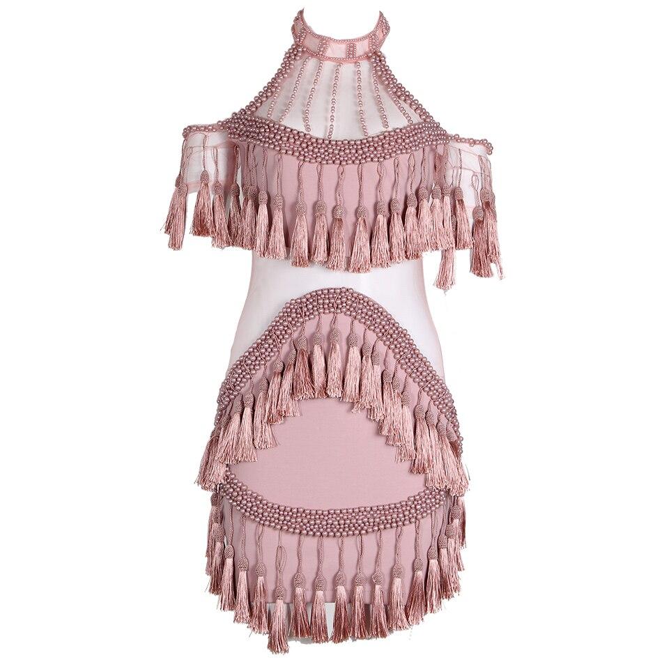 Perlée Mini Rose Nouveau Robe Piste Épaule Perlé Maille De Femmes Manches Luxe Noir Sexy Robes Sans Gland Off 2017 aqxTAwa