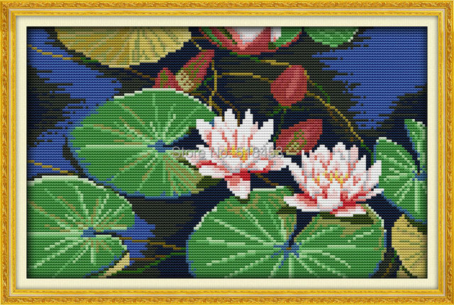 US $16 99 |New DIY Needlework Beautiful lotus 11CT Free Dmc dimension Cross  Stitch Kits for Embroidery Knitting Needles Crafts-in Beaded Cross Stitch