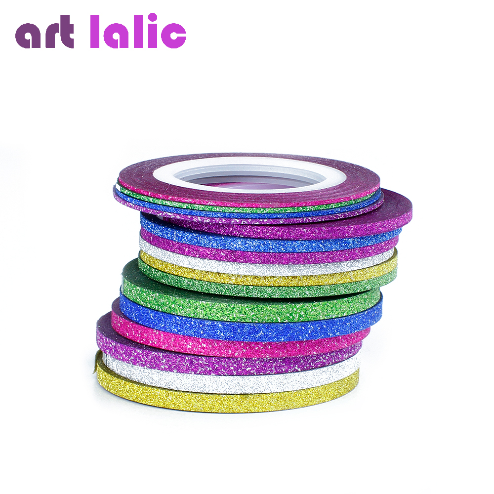 6 Rolls Glitter Scrub Nail Art Striping Tape Line Sticker Tips Decorations DIY Self-Adhesive Decal Tools Manicure 1MM 2MM 3MM 500pcs 37colors hot metallic yarn line rolls striping tape adhesive 3d nail art beauty sticker decoration wholesale