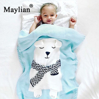 cartoon animal Acrylic Portable Printed Jacquard Woven Picnic Home Blankets For Beds bear Blanket Baby holding blanket be1083