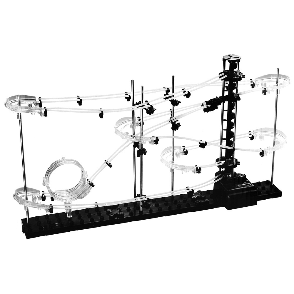 Nível do espaço Ferroviário 1 DIY Brinquedos Educativos Para Crianças Space Ball Física Rollercoaster Elevador Motorizado 5000 milímetros Kits Modelo de Construção