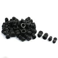 50PCS PG7 PG9 PG11 PG13.5 PG16 Black Plastic Waterproof Cable Glands