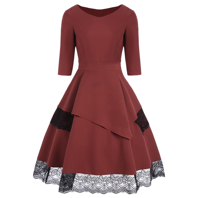Women 50s 60s Retro Vintage Dress Thick Fabric Patchwork Long Sleeves  Autumn Dress Rockabilly Fall Swing Party Dress 88b14604cead