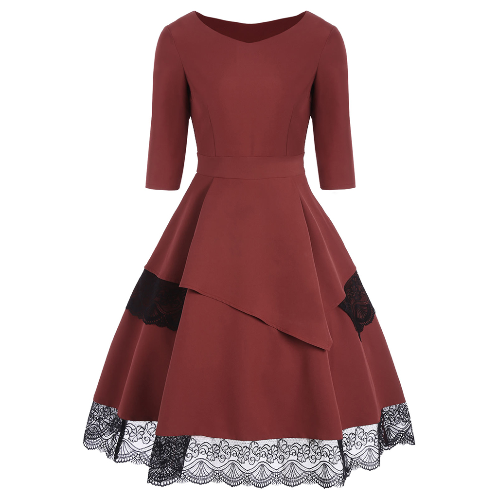 Women 50s 60s Retro Vintage Dress Thick Fabric Patchwork Long Sleeves Autumn Dress Rockabilly Fall Swing Party Dress