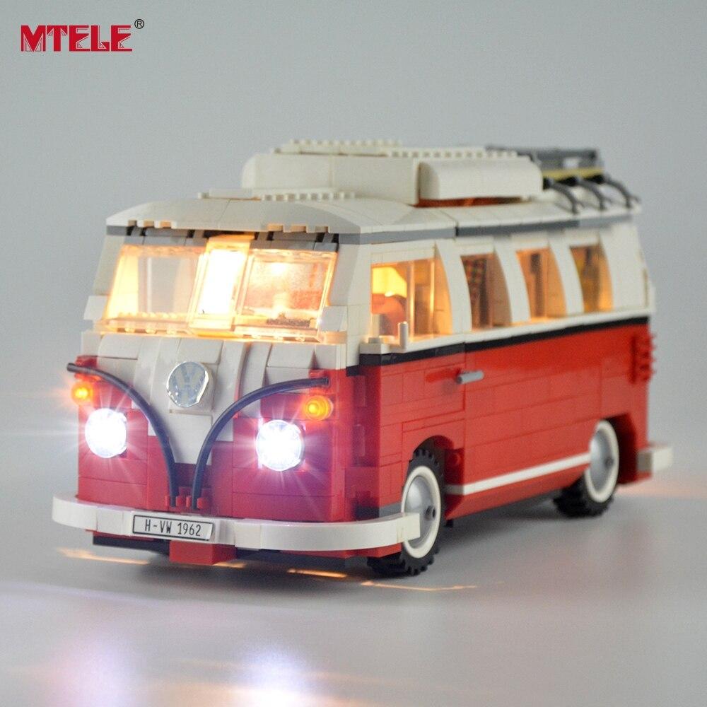 Mtele diy led light up kit para série criador o t1 campista van conjunto de luz compatile com 10220 21001