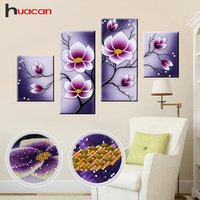 Huacan Special Shaped Diamond Embroidery Mosaic Flowers Wall Decor DIY 5D Diamond Painting Cross Stitch Orchid Multi Collages