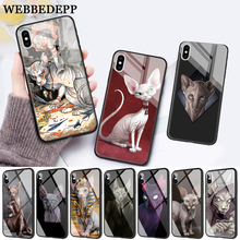 WEBBEDEPP Tattoo Sphinx Cat Glass Phone Case for Apple iPhone 11 Pro X XS Max 6 6S 7 8 Plus 5 5S SE цены