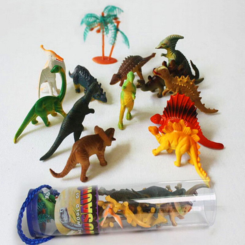 12 pcs/set Dinosaur Toy For Unisex Baby Collecters Playing Funny Toy Plastic Action and Figures Best Gift Model Gift 6 pcs set baby best gift anna elsa action figures toys snow queen pvc model anime toy hans collection gift children kids toys
