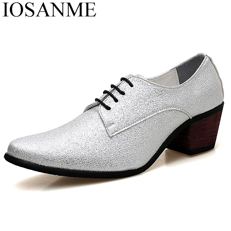 fashion leather designer men shoes high heels man luxury brand gold silver height increasing wedding dress oxfords shoes for men