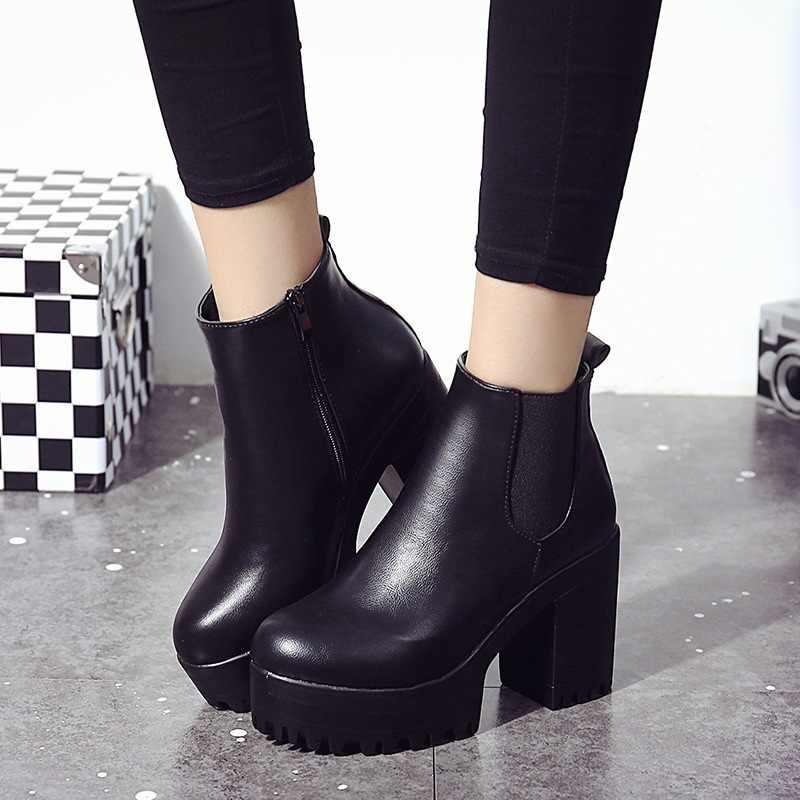 Chelsea bottes femme cuir femmes bottes 2019 talons épais bottines pour femmes bout rond chaussures d'hiver femmes plate-forme bottes