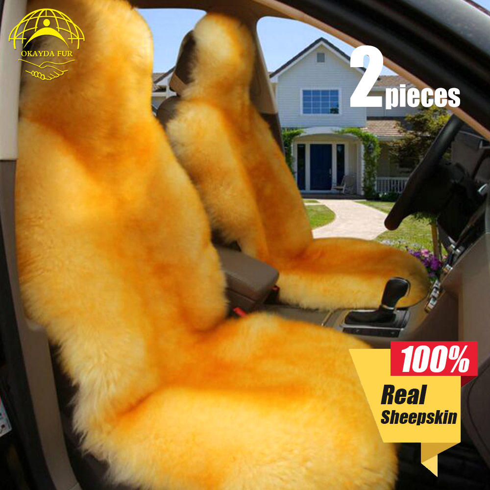OKAYDA car seat cover soft Fur new universal Australia sheepskin free shipping warm Long wool Suitable for most cars in Automobiles Seat Covers from Automobiles Motorcycles