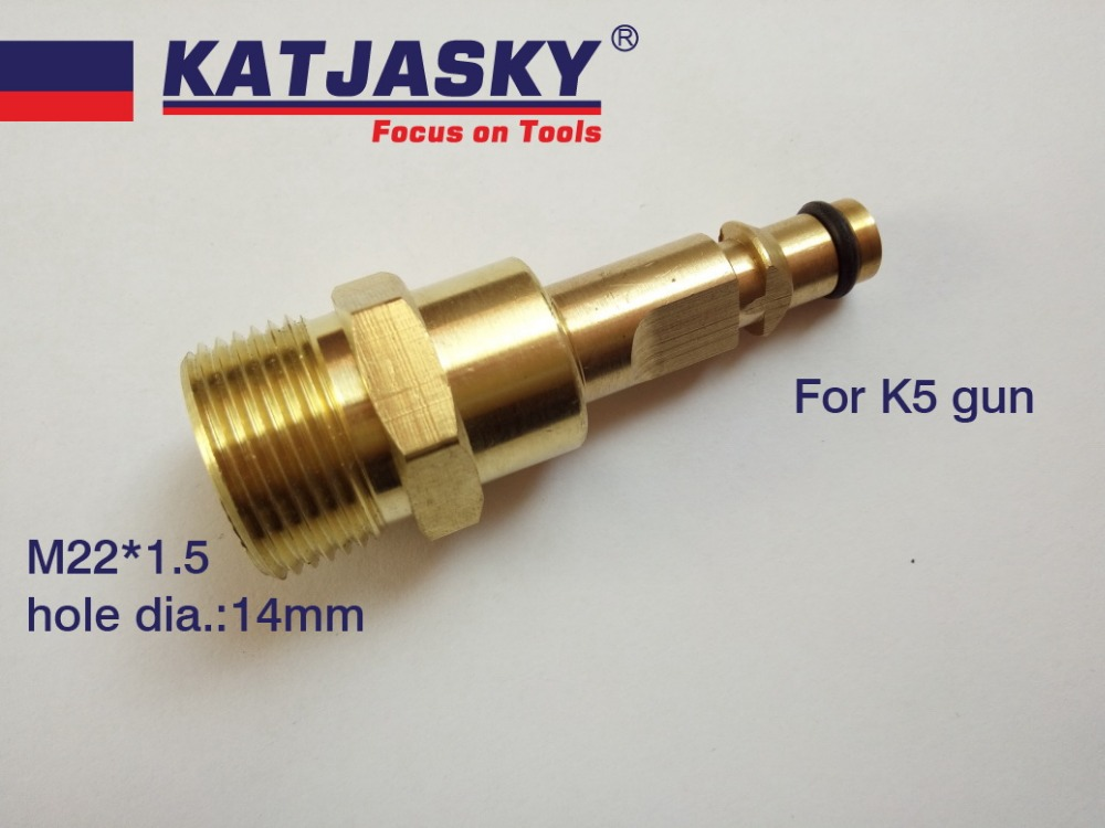 100% Copper Car Washer Hose Connector Fit Karcher K5 Series Gun, Another End Thread M22*1.5 Hole Dia.14mm