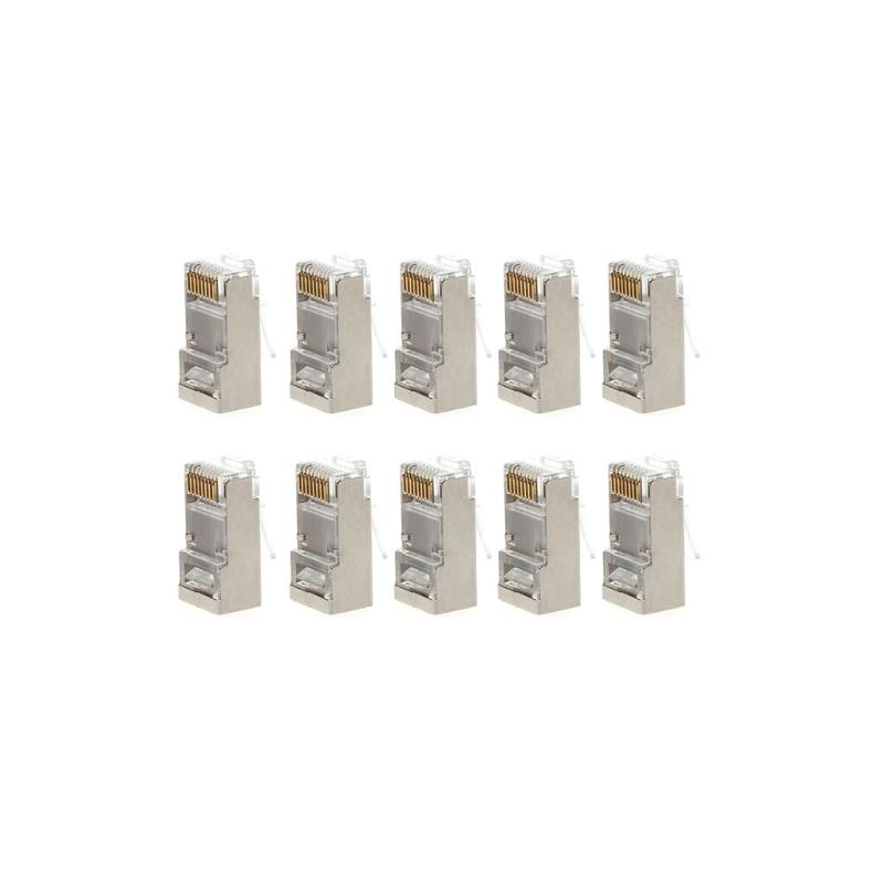 1 Set/10Pcs Cat6 8-Pin RJ45 8P8C Shielded Stranded Crimp Modular Plug Connector Socket High Quality Network Cable Plug