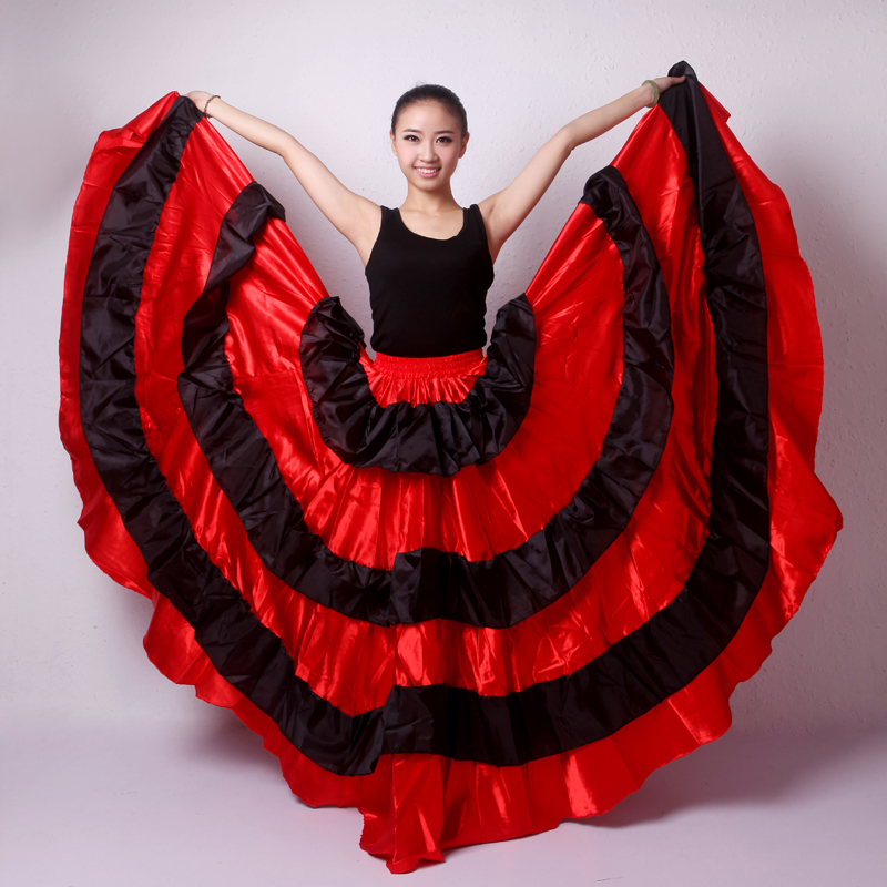 Long Flamenco Skirts Women Red Spanish Clothes Bullfight Festival Gypsy Skirt Performance Stage Ballroom Dance Costumes DN3048