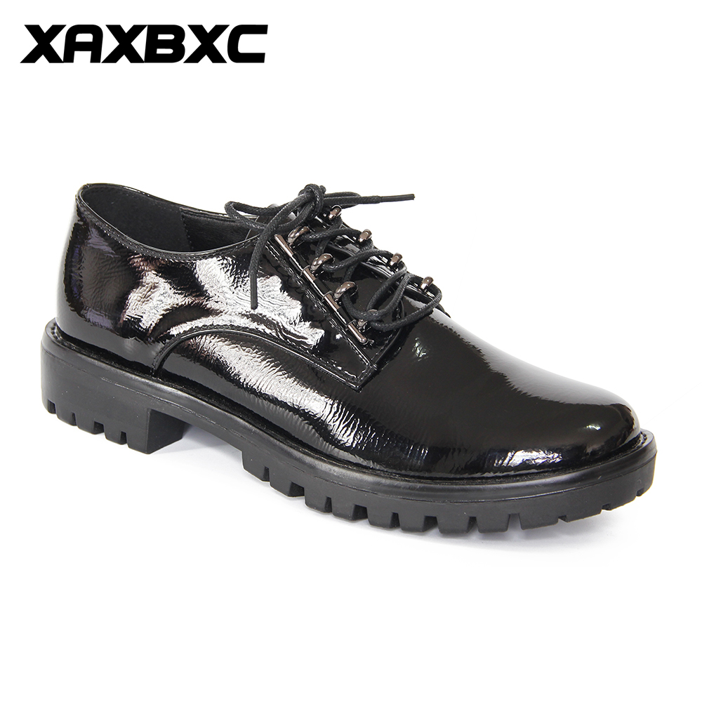 XAXBXC 2017 Retro British Autumn Black Pumps PU Leather Brogue Low Heel Lace-Up Oxfords Women Shoes Handmade Casual Lady Shoes