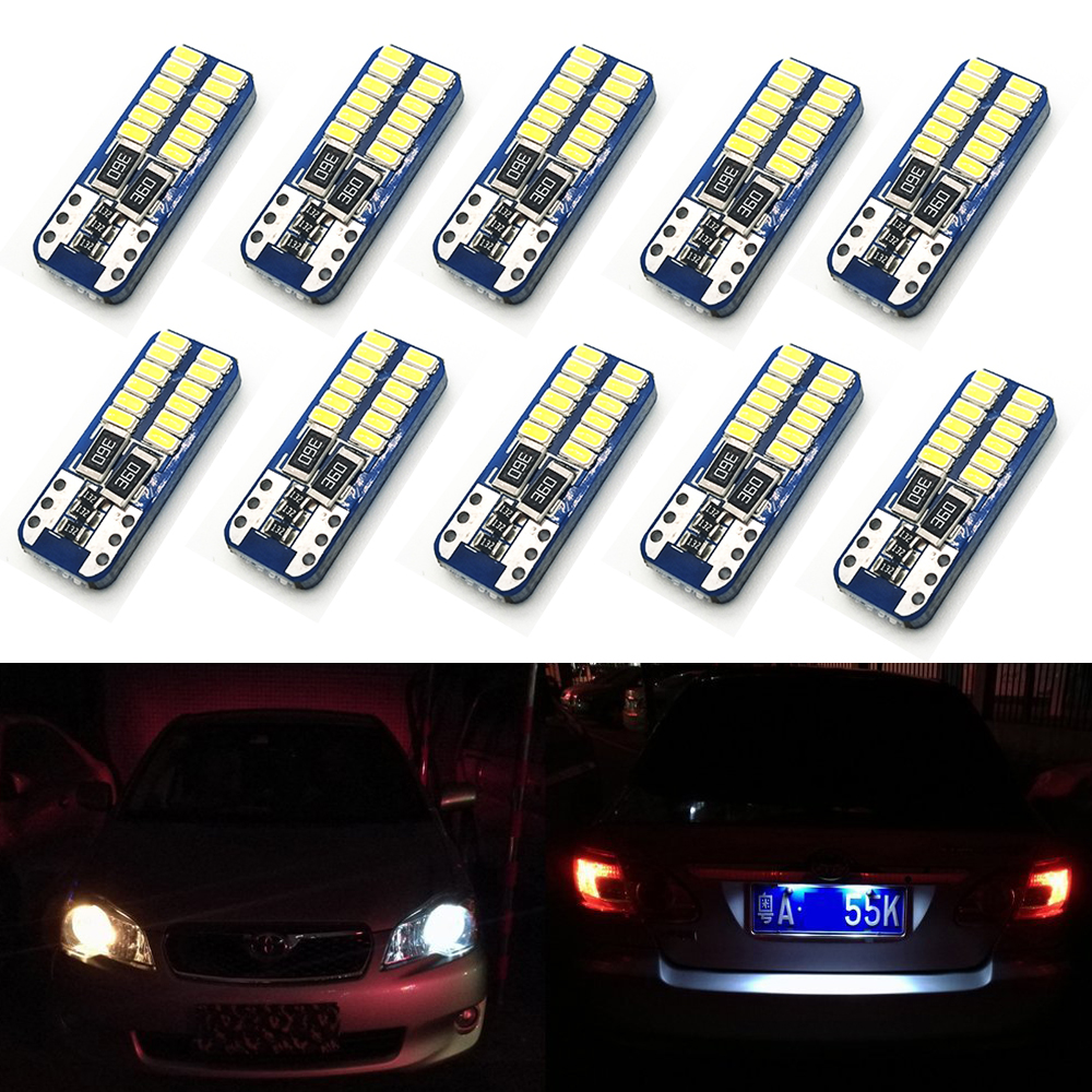 Welback T10 W5W CANBUS Error Free 24 SMD LED Bulbs for Car Interior Dome Map Door Courtesy License Plate Lights Xenon White cawanerl car canbus led package kit 2835 smd white interior dome map cargo license plate light for audi tt tts 8j 2007 2012