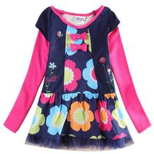 Girls flowers long-sleeved dress embroidered girls middle and small children wearing casual cotton spring new H6396D
