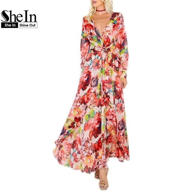 Shein с длинным рукавом maxi dress женщины многоцветный цветочные глубокий v-образным вырезом maxi dress 2017 дамской одежды элегантный line dress