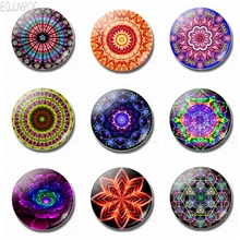 Buddhism Mandala Decoration Refrigerator Flower Round Magnetic Stickers 1pcs 30MM Glass Dome Fridge Magnet Gifts for Yoga Lovers