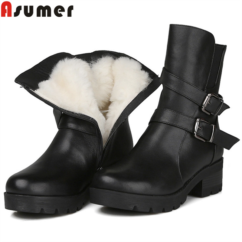 ASUMER 2018 fashion new genuine leather boots buckle zip ankle boots for women classic winter keep warm snow boots shearlingASUMER 2018 fashion new genuine leather boots buckle zip ankle boots for women classic winter keep warm snow boots shearling