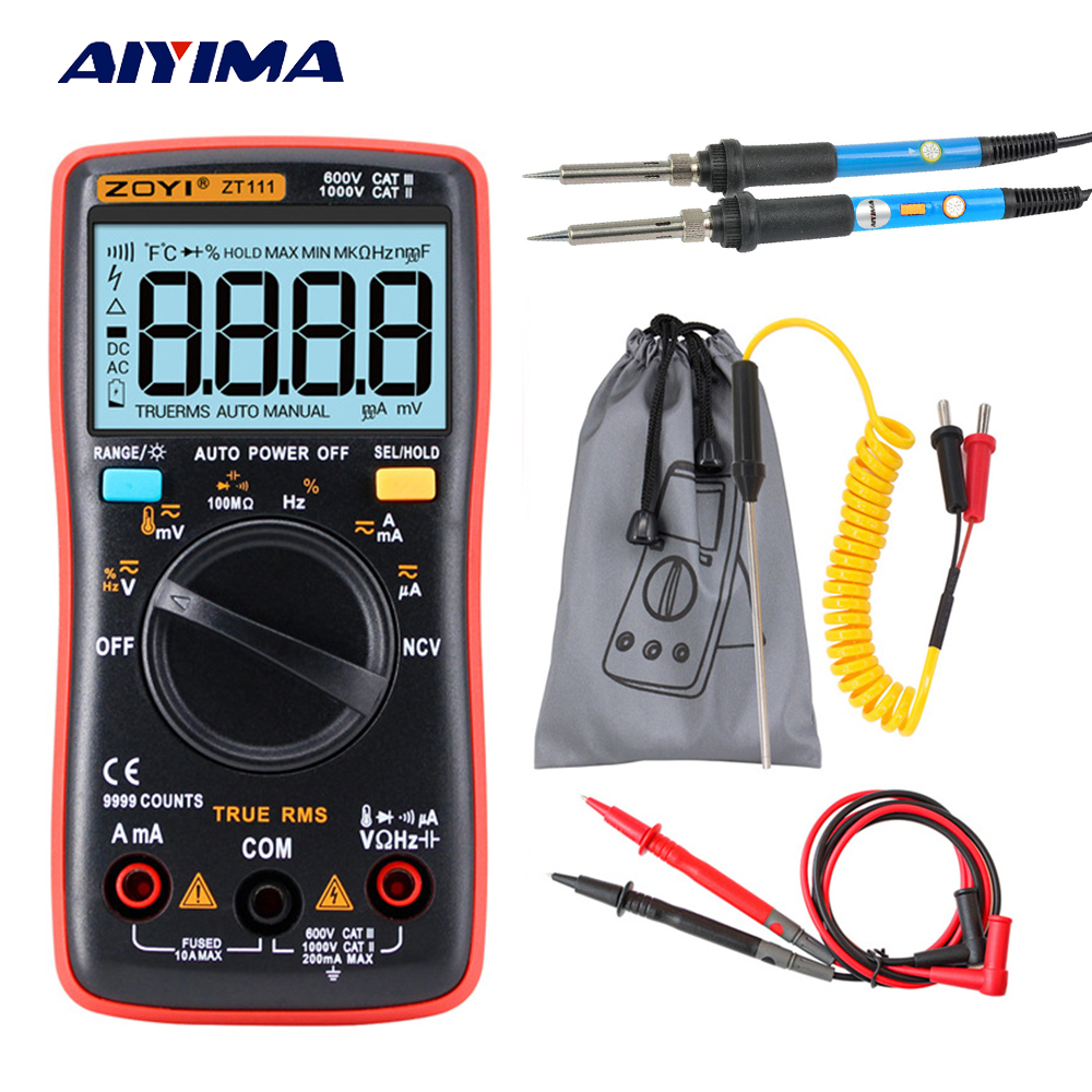 Aoshike RM111 NCV Digital Multimeter Auto Range 9999 counts 100M Ohm AC/DC Voltage Ammeter Current Meter With Soldering Iron 100% original fluke 15b f15b auto range digital multimeter meter dmm